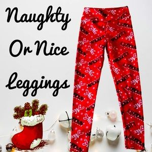 Pants - NAUGHTY OR NICE CHRISTMAS LEGGINGS PANTS RED BLACK